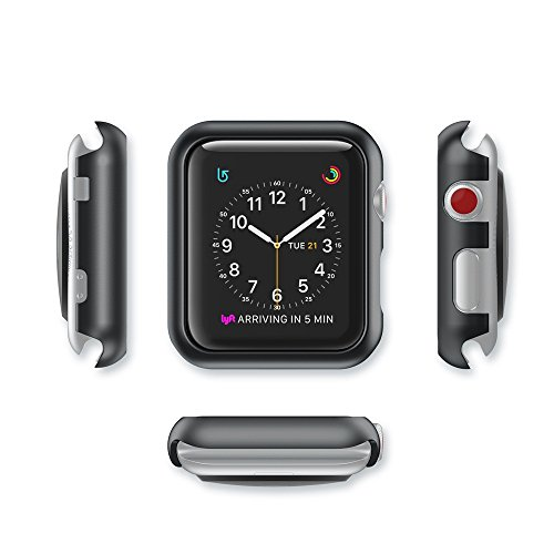 samLIKE Ultra-Slim Electroplate PC Hartschalenetui für Apple Watch Series 3 42mm (Schwarz)