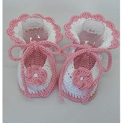 Patucos de ganchillo, hechos a mano, para bebés de 0-3 meses. Temporada Primavera-Verano. 100% Algodón orgánico.