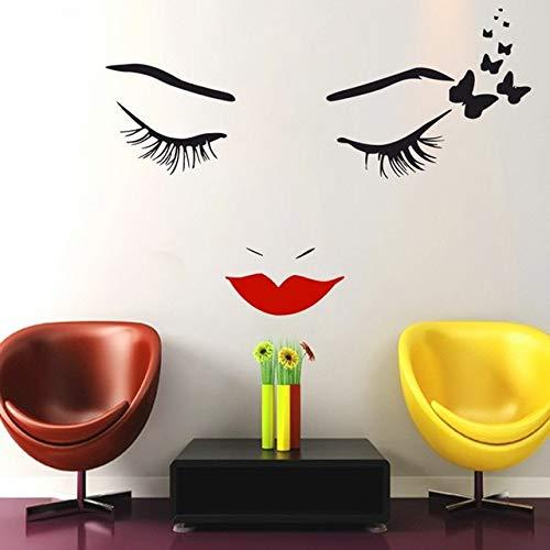 Kühle Salon Schöne Buteerflies Mädchen Wandbild Mädchen Gesicht Make-Up Lippen Augen Spezielle Vinyl Kunst Wandaufkleber Für Wohnkultur 42 * 57 cm