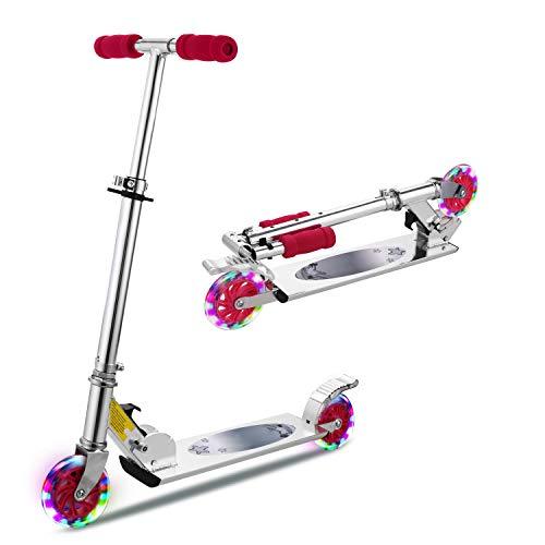 WeSkate Scooter Kinder Roller Faltbarer Einstellbarer LED 2-Rad-Tretroller für Kinder (rosa)