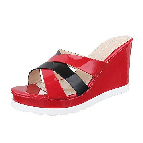 ten Damen Schuhe Jazz & Modern Keilabsatz/Wedge Keilabsatz Sandalen/Sandaletten Rot Schwarz, Gr 37, H-1- (Modern Jazz Kostüme)