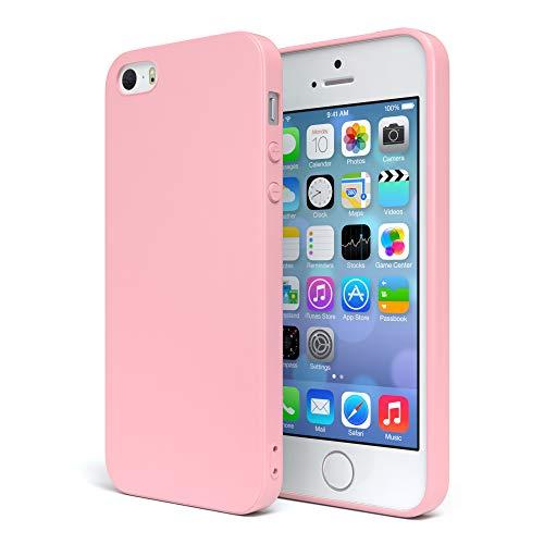 EAZY CASE Handyhülle Silikon mit Kameraschutz für Apple iPhone SE / 5 / 5S in Rosa, Ultra dünn, Slimcover, Silikonhülle, Hülle, Softcase, Backcover - Rosa Cover Iphone 5