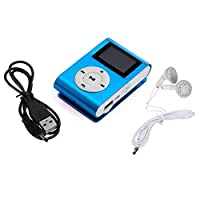 Mini Blue USB Clip MP3 Player Bundle Headset LCD Screen Support 32GB Micro SD TF Card