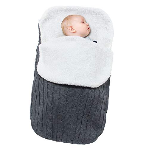 Beinou Neugeborenes Baby Gestrickt Wickeln Swaddle Decke Swaddle Samtvlies Schlafsäcke Wrap Decke Wickel Einschlagdecke für 0-12 Monat Baby Boy or girl 68 cm x 38 cm(Dunkelgrau)