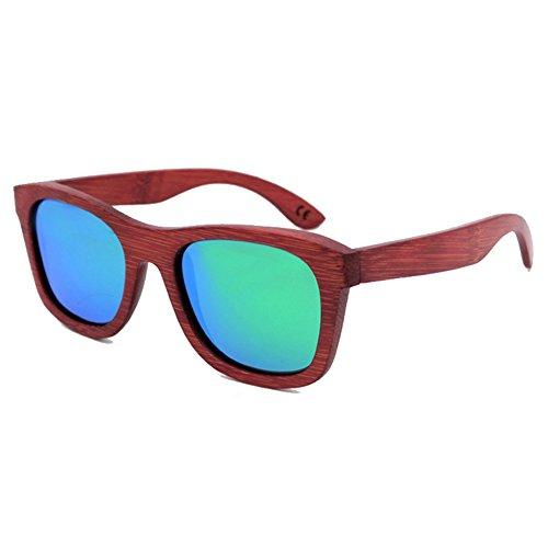hibote Red Drawing Bambou Glasses Bambou Boised Polaris¨¦es Lunettes de soleil Unisex vert
