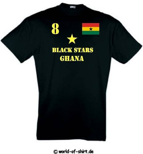 world-of-shirt Herren T-Shirt Ghana Black Stars im Trikot Look (Ärmel Lange Ghana)