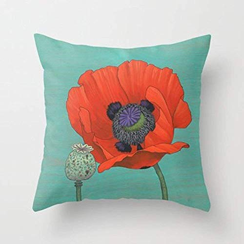 Bixungan Red Poppy and Pod In Teal Throw Pillow by Kate Halpinfor Your Home - Poppy Pods