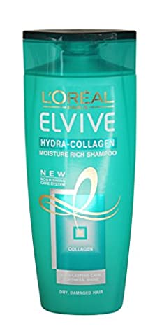 L'Oréal Paris Elvive Hydra Collagène–250ml L'Humidité Riche Shampooing pour les cheveux secs et abîmés–avec système de soin nourrissant