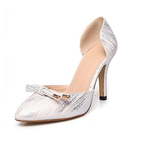 AgooLar Femme Couleur Unie Pu Cuir Stylet Pointu Tire Chaussures Légeres Blanc
