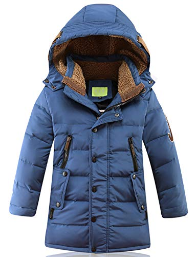 SEEU Baumwolle Gefütterte Jacken Für Jungen Kälteschutz Jacke Mit Abnehmbar Kapuze Blau 164