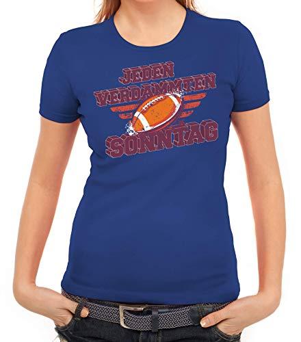 American Football Gruppen Fan Damen Frauen T-Shirt Rundhals Jeden Verdammten Sonntag, Größe: M,royal blau