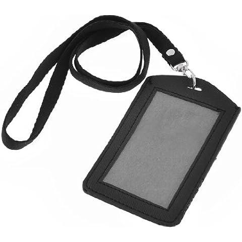 Porta Tesserino di Riconoscimento in Finta Pelle Nera Verticale con Laccio da Collo