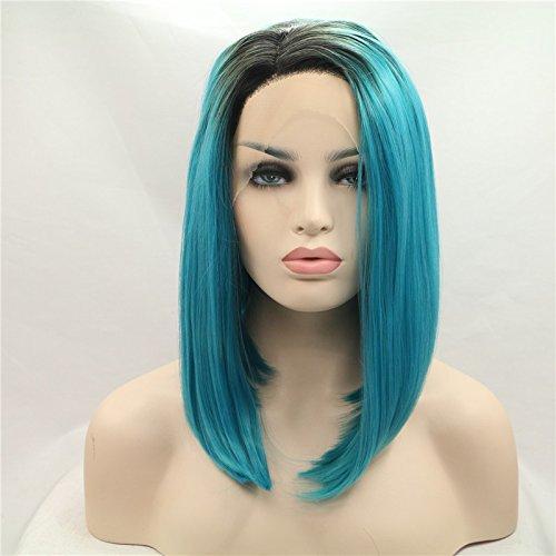 Premium Noir au Bleu deux tons Ombre courte droite Bob synthétique Lace Front Perruque résistant à la chaleur Fibre Cheveux