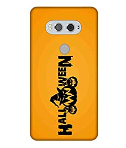 Print Opera Hard Plastic Designer Printed Phone Cover for Lg V20 Halloween Yellow Background