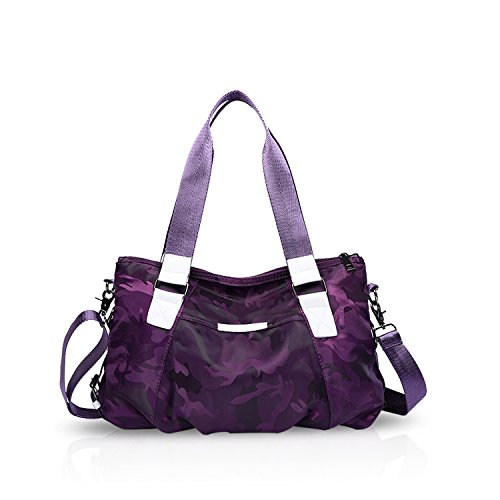 NICOLE&DORIS Frau Tote Handtaschen Schultertasche Umhängetasche Reisetasche Schulranzen Grosse Kapazität Leicht Wasserdicht Nylon Tarnung Lila