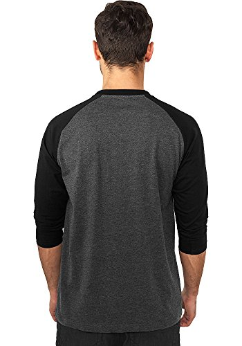 Urban Classics Herren Shirt 3/4-Arm Contrast – verschiedene Farben Charcoal/Black