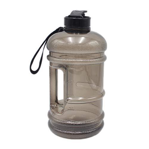 2.2L große Kapazität BPA frei auslaufsicher Kunststoff halbe Gallone Gym Sport Wasserflasche große Ausbildung Trinkwasser Krug Hydrat Container leicht mit Easy Carry Strap und Flip-Up Cap (schwarz)