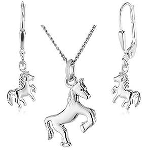 Kinderschmuck für Mädchen im Set Silber – Pferdeanhänger mit Halskette und Ohrringe in 925 Silber rhodiniert