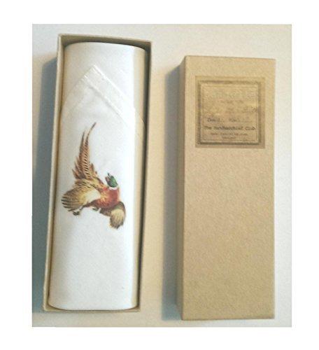 tamielle - einzeln Männer Weiß Taschentuch mit einem Fasan Motiv - 40cm x 40cm - schön Präsentations- in Kiste und ethisch produzierte (Fliegenfischen Präsentation)