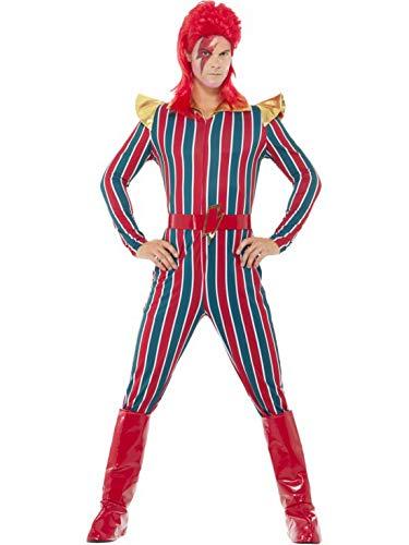 Halloweenia - Herren Männer rot blau gestreiftes Space Superstar Kostüm mit Jumpsuit Einteiler Overall, Stiefelüberzieher und Gürtel, perfekt für Karneval, Fasching und Fastnacht, M, Rot