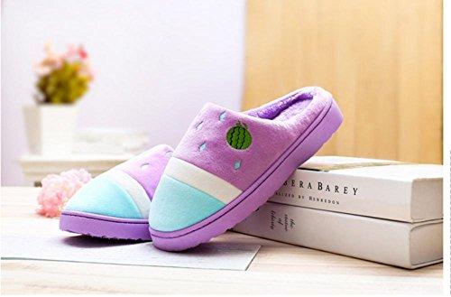 LDMB Niedliche Mode Farbe Baumwolle ziehen Anti - rutschigen Herbst und Winter warm Cotton shoes2 Paare purple taro