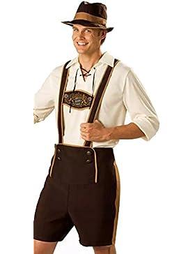 WTUS Herren Trachten Lederhose perfekt für Oktoberfest oder Karneval Braun