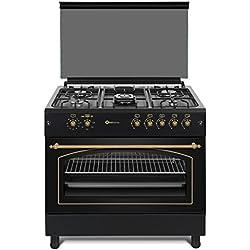 Cocina SolThermic F9L50G2-N PANORÁMICA de color Color Negro Rústico con Tiradores, mandos y ribetes dorados compuesta por 5 Quemadores y Horno panoramico con asapollos giratorio