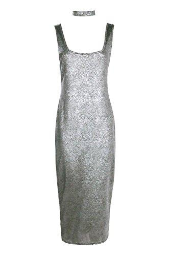 Argent Femme Tall Maymie Metallic Choker Midi Dress Argent