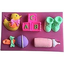 Karen Baking Bebé Cochee Forma de la torta del silicón del diseño 3D del molde de la torta de chocolate para Herramientas de la pasta de azúCoche que adorna Rosa