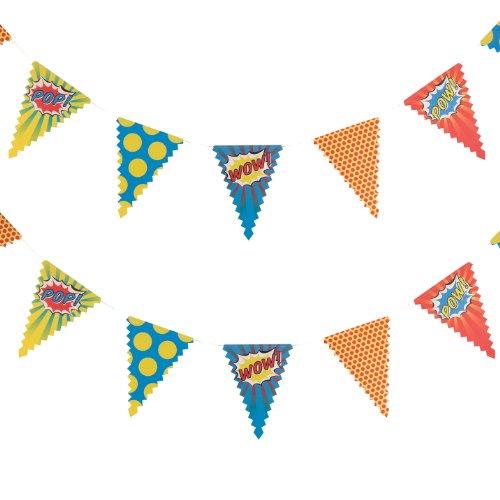 Ginger Ray Pop Art Superhero Party-Boxen (5Stück), gemischt hängender Banner gemischt