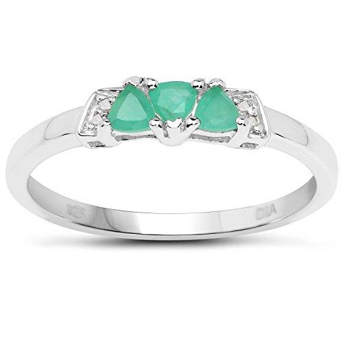 La Collection Bague Emeraude : Bague Argent Emeraude et Diamant, une Bague de fiançailles , Taille Bague 58