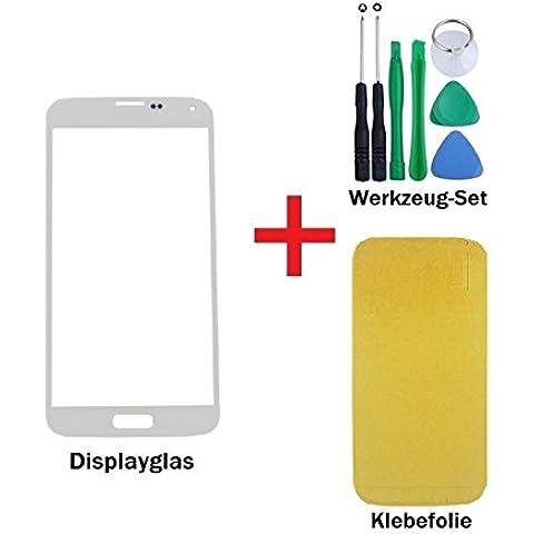 iTech Germany Pantalla de cristal kit de reparación para Samsung Galaxy S4 Mini en Blanco - Panel frontal táctil para i9190 i9195 + 3M Adhesivo y de 7-Piezas Juego de