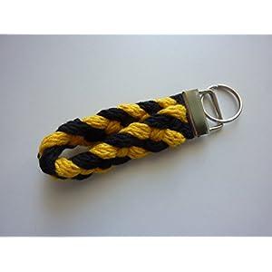 1 Schlüsselanhänger Schlüsselband in schwarz und gelb aus Strickliesel-Schnüren