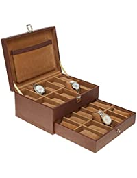 Leather World 9.5 Liter Brown Pu Leather Designer 20 Watch Box Case with Clasp Closure Travel Bag