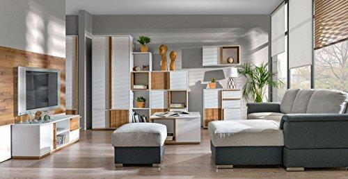 Wohnzimmer Komplett - Set C Lefua, 8-teilig, Farbe: Weiß / Nussfarben