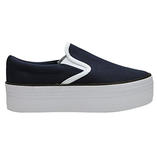 SLIP ON ZIP CANVAS BLU BIANCO - 38