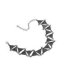 Young & Forever Tribal Muse Collection Silver Plated Young Lovin' Geometric Choker necklace for girls by CrazeeMania - N80414