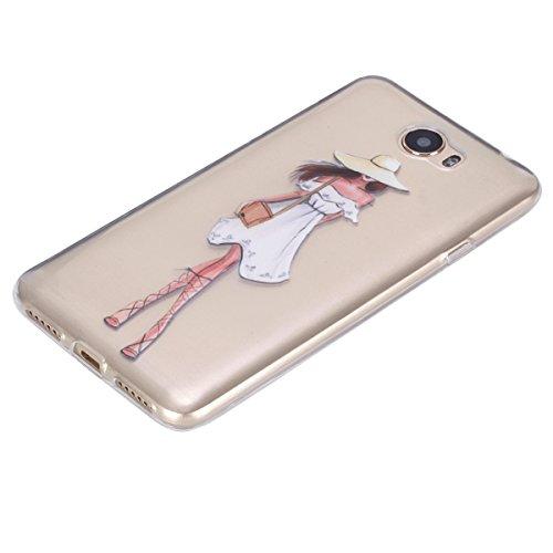 Ukayfe Custodia per Huawei Y5 II,Ultra Slim TPU Gel Gomma Silicone Copertura Case per Huawei Y5 II,Moda Serie Pattern Back Cover Crystal Skin Custodia Stilosa custodia di design Protettiva Shell Case  Vestito bianco Ragazza