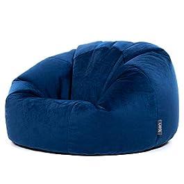 Icon Pouf Classique Milano, Bleu Marine, Poufs de Salon, 85cm x 50cm, Pouf Poire Grand, Velours Luxueux, Chaise pour…