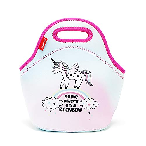 Kids Lunch-Taschen Neopren Isolierte Lunch-Tasche für Mädchen Little Baby Bento Love Pattern Lunch-Boxen für Mädchen Nette kleine Lunch-Box Freezable Leakproof Kühler Konserve Lunch Bag(unicorn-S)