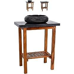 Waschtisch Teak Holz mit Waschbecken und Platte aus schwarzem Marmor Badmöbel Unikat poliert