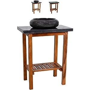 waschtisch teak holz mit waschbecken und platte aus schwarzem marmor badm bel unikat poliert. Black Bedroom Furniture Sets. Home Design Ideas