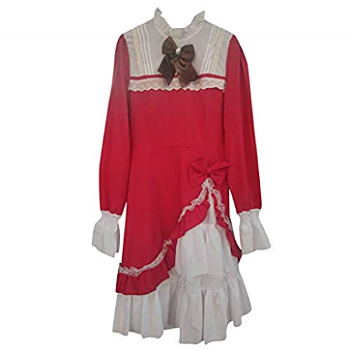 LILIGOD Damen Lolita Nette Kleid Frauen Lace Langarm A-Linien Kleid Bowtie Cosplay Kostüme Partykleid Mit Schleife Stehkragen Ausgestellte Ärmel Cocktailkleid Vintage Elegant Kleid
