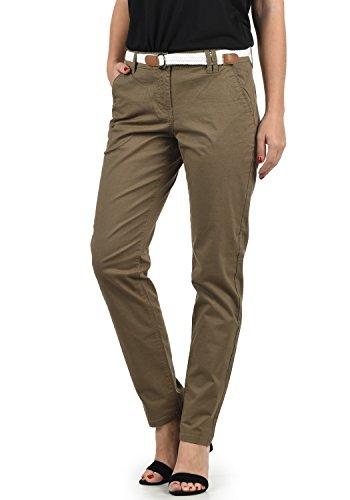 DESIRES Chakira Damen Chino Hose Stoffhose Mit Gürtel Aus Stretch-Material Slim Fit, Größe:38, Farbe:Shitake Br (5323)