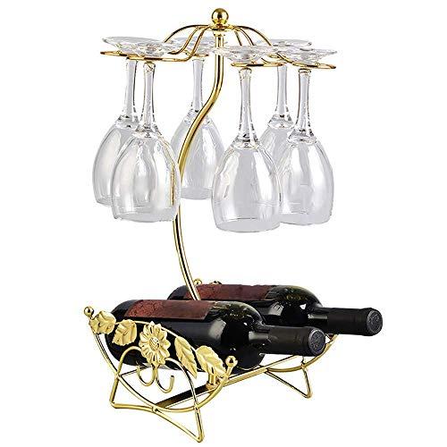DYOYO Classic Elegant Tabletop Wine Cup Rack 6 Wine Glass Holder Storage Freestanding stemware Rack Shelf Home Bar Tool (Copper/Gold),Gold -