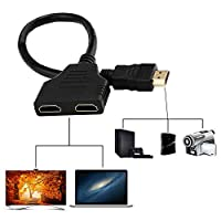 Lxquxing Computer Accessories Double HDMI Adapter, HDMI to Double HDMI Splitter, Male To Female 1 2 Way Splitter Adapter Cable For HDTV, x 2, in Out Electronic Equipment