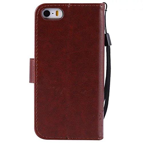 JIALUN-étui pour téléphone Avec Slot à carte, Lanyard, Pressure Beautiful Pattern Fashion Open Cell Phone Shell pour IPhone 5 5S SE ( Color : Pink ) Coffee