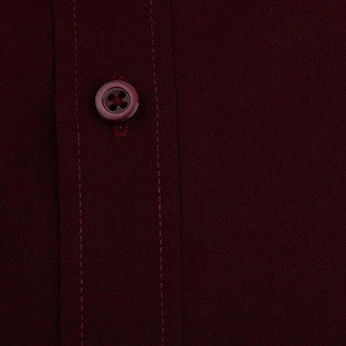 Polo Uomo Attività commerciale GGD-1004,Vovotrade Manica lunga classica a righe Vino rosso