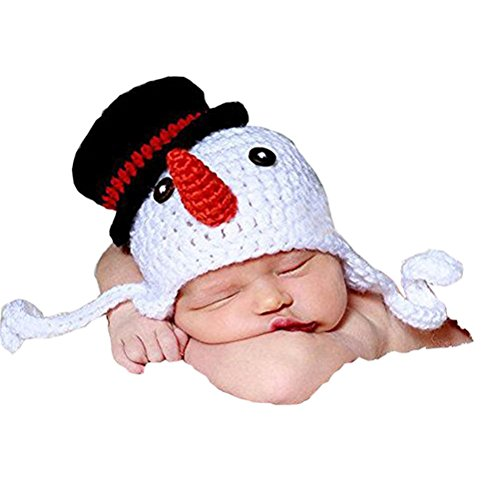 Fenical Baby Photography Prop Crochet Knitted Crochet Costume Snowman Hat Caps