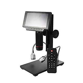 ZTT Industrielles Digital-Mikroskop, 5-Zoll-Bildschirm Wartung USB Digital Mikroskop mit Tasten der Fernbedienung und IR Einstellbare Display-Lupe Geeignet für Studenten und Erwachsene